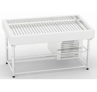 Refrigerated display case for fish on ice